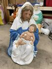 Vintage Blow Mold 26 Nativity Mother Mary holding Baby Jesus Lighted TPI 1996