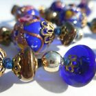 Beautiful Blue Gold and Silver Glass and Metal Beaded Necklace