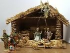 VINTAGE 12 PIECE NATIVITY SET WITH WOOD STRAW  MOSS MANGER 25 TO 5 FIGURINES