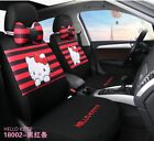 Hello Kitty Cartoon Car Seat Covers Set Universal Car Interior Red color Strip
