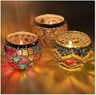 Glass Votive Candle Holders LED Candle Lamps Holder for Votive Candles Set of 3
