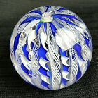 Pairpoint 1974 Floral Blue  White Ribbon Latticino Paperweight