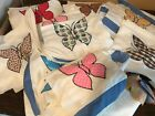 Lot Butterfly Quilt Top Unfinished Blocks Squares Applique Muslin Cotton Backing