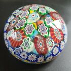 Vintage 35 Round Colorful Millefiori Clear Art Glass Paperweight Italian