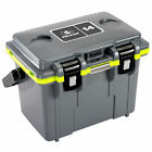 Pelican 14QT Personal Cooler Dry Box Bottle Opener Dark Gray with Green Accents