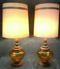 Amber Glass Metal Wood 3 way Table Lamps Pair Vintage w Shades Regency MidCent