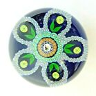 1988 Vintg Perthshire Glass Pheasant Cane Blue White Paperweight Signed Free SH