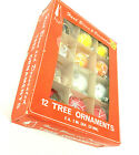 Vtg Box of 12 Hand Blown  Hand Decorated Mercury Glass Christmas Tree Ornaments