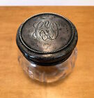 Antique Vanity Jar with Sterling Silver Lid Cut Glass Crystal