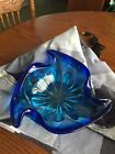 Vintage Blue Hand Blown Glass Dish Or Ashtray