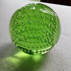 Vintage Emerald Green Glass 3 inch Paperweight Controlled Bubbles Bullicante