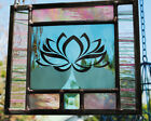 Stained Glass Window Panel Lotus sea green pink clear