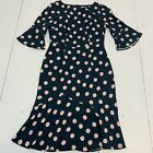 Boden Womens Dress Size 6R Blue Pink Polka Dots Fit  Flare