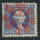 US Classic 115 VF used 6 cent with Red Fancy Cancel 21 Cat 22500