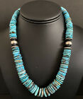Sterling Silver Graduated Blue Turquoise Bead Necklace 18 inch