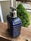 Antique Ribbed Sides Cobalt Blue Silver Overlay Glass Perfume atomizer Bottle