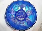 NORTHWOOD PEACOCK  URN BOWL ELECTRIC BLUE CARNIVAL GLASS RARE