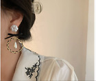 White Camellia Bow Faux Pearls Leather Hoop Drop Retro Earrings Gold Swarovski