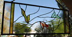 Stained Glass Window Panel Falling Leaves green amber rust clear fall