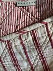 Pottery Barn Quilt Stripes Ticking Full Queen Red Tan Cotton EUC