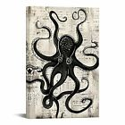 Octopus Decor Wall Art Black Marine Animal on Rustic Paper Pictures Print