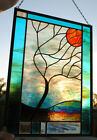 Stained Glass Window Panel Stormy Tree turquoise