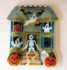 Peggy Karr Halloween Haunted House Skeleton Fused Glass Tray Platter Signed