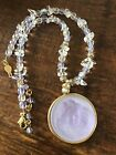 KIRKS FOLLY Dream Angel Necklace Signed Glass Cameo Pendant Purple Iridescent