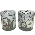 Yankee Candle 2021 Set of 2 HAUNTED HOUSE Crackle Glass Holders Free Shipping