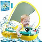 Qrooper Baby Pool Float Ring Baby Swimming Float Inflatable Newest with Sun Pro