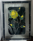 Handcrafted Stained glass window yellow rose 16 X 22