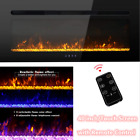 Contemporary Electric Fireplace Black 40 Wall recess Mount Heater multi Flame