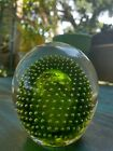 Vintage Large Green Controlled Bubbles In Clear Art Glass Paperweight