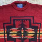 Pendleton Vintage 90s Large Red Native Southwest Sweater Traditionals Wool USA