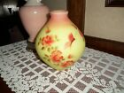 Fenton Burmese vase butterfly and roses signed by the artist NICE