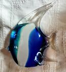 Blue White Clear Art Glass Fish Paperweight 65 Tall  Long