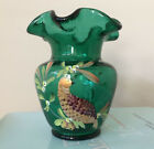 Signed Fenton Art Glass Handpainted Partridge in a Pear Tree Vase Signed Dowler
