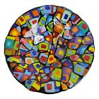 Suellen Parker Fused Glass Art Glass Serving Dish Bowl Abstract Rainbow 1525