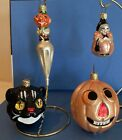 4 Glass Halloween Ornaments from 1990s JOL Black Cat small witch Cone