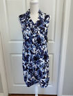 ECI Blue Floral Sleeveless Pull Over Collared Cotton Shirt Dress No Belt Small