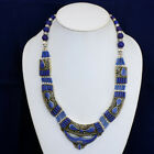 Early collection fashion forward inlaid blue lapis Handmade dragonfly necklace