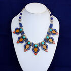 Inspired choker Long 16 fashion forward lapis amber dragonfly necklace jewelry