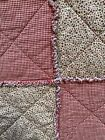 Rag Quilt Throw Custom Handmade Red  CreamPatchwork 100 ALL Cotton Reversible