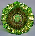 8027 Millersburg RAYS  RIBBONS Green Carnival Glass Double Crimped SHELFER Bowl