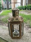 Vintage Brass and Glass Oil Lantern Light with Handle 13 Tall by 6 1 2 Wide