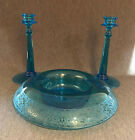 Turquoise Blue Etched Glass Tall Candle Sticks and Floating Candle Bowl