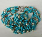 Vintage fashion glass turquoise baroque pearl beads chain 5 strand necklace 28