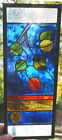 Stained Glass Window Panel Falling Aspen Leaves green amber rust blue fall