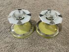 Vintage Art Deco Glass Candlestick Holders Set Of 2 Yellow White Silver