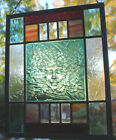 Stained Glass Window Panel Lady of the Forest sea green white purple